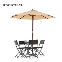 iKayaa US Stock Wooden 2.7M Patio Umbrella Outdoor Cafe Beach Parasol Jardin Canopy 8 Ribs 38MM Pole ombrellone da giardino(China)