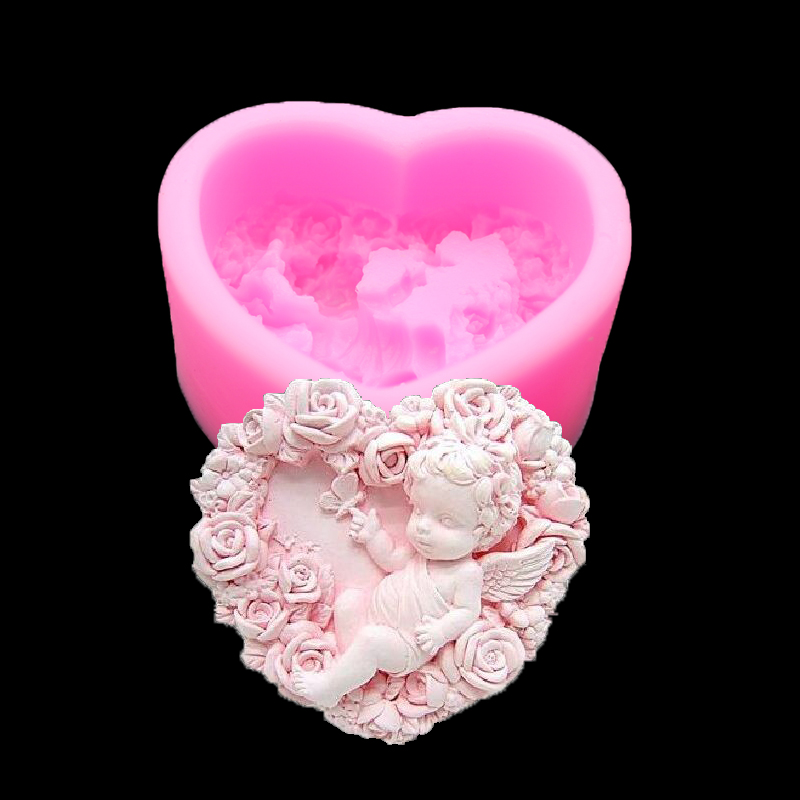 Angel Rose 3d Silicone Mold Soap Soap Mold Candle Making Chocolate Decorated Cake Baking Tools Kitchen Accessories Lace Cake(China)
