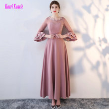 Brilliant Hot Pink Formal Evening Dresses 2017 New Sexy Party Evening Gowns O-Neck Lace Appliques Elastic Satin Prom Dress Long(China)