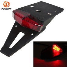 POSSBAY Universal Motorcycle Tail Lights Trial Bike Rear Fender Taillights LED Brake Stop Light Red Farol Auxiliar Cafe Racer(China)