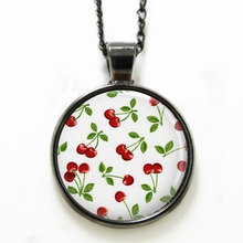 10PCS Cherry necklace Rockabilly Jewelry Red Cherries Art necklace Red print glass necklace(China)