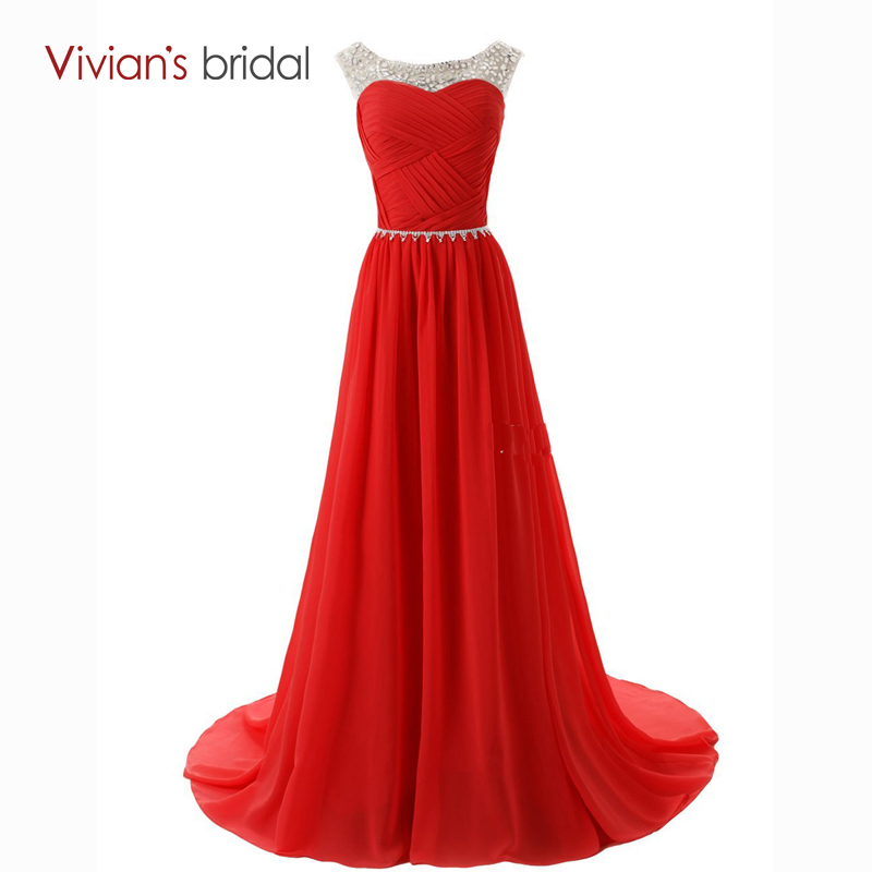 Vivian s Bridal Sexy Beaded Evening Dresses A Line Red Pink Green Chiffon Sleeveless Summer Party