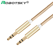 Robotsky 3.5mm Audio Cable Nylon Braid 3.5 Jack Male to Male Car AUX Cable for Phone MP3 MP4 Headphone Beats Speaker(China)
