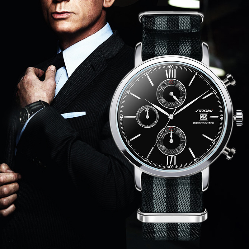 SINOBI Mens Fashion Sports Military Watches Chronograph Mens Quartz Wristwatches Waterproof James Bond 007 Relogio Masculino<br>