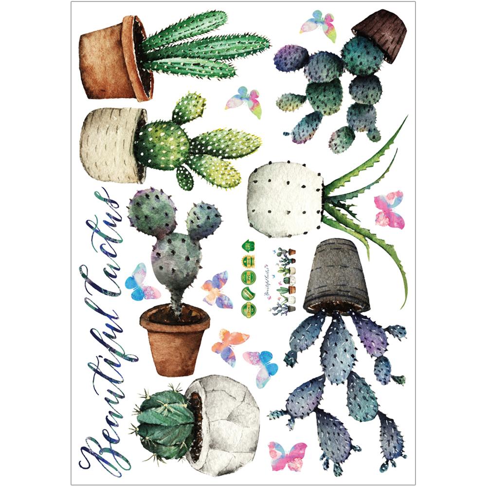 HTB1Xuv9hlDH8KJjSspnq6zNAVXag - Creative Pot Plant Cactus Wall Sticker