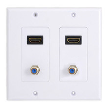 2HDMI Wall Plate Composite Video Audio Adapter Jack Outlet Panel HDTV CCTV TV(China)