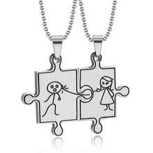 Fashion Korean Pendant Necklaces Couple Chain Necklace 316L Stainless Steel 1 pair Cute Boy and Girl Jewelry(China)