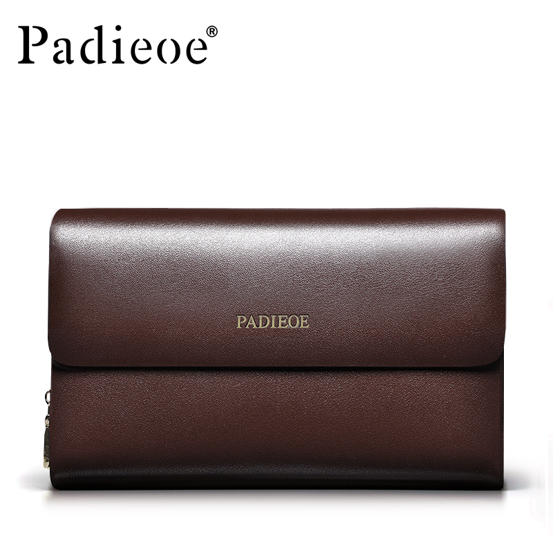 Padieoe Multi-function Business Men Wallets Double Zipper Mens Clutch Bags Genuine Leather Purses Fashion Male Handbags Bag<br>