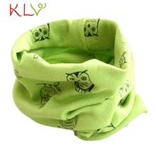 Popular 2017 NEW arrival Autumn Winter Boys Girls Owl Print Collar Baby Scarf Cotton O Ring Neck Scarves Free Shipping OT27z