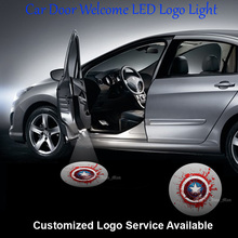 2x Captain America shield Logo Car Door Welcome Laser Projector Ghost Shadow Puddle LED Wired Light #C0126