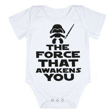 Funny Newborn Infant Clothes Force Awakens You Letter Print White Short Sleeves Tiny Cottons Baby Bodysuits Baby Onesie 0-18M(China)