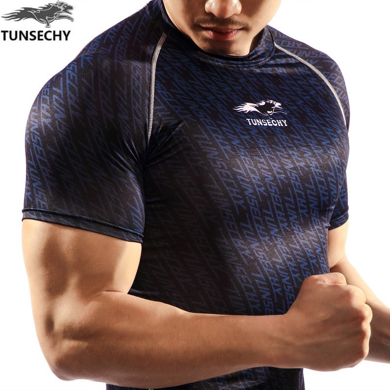 NEW Mens Compression Shirts Bodybuilding Skin Tight Short Sleeve Jerseys TUNSECHY brand Crossfit Outdoor sports bike t Shirt 230