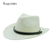 Kagenmo Unisex Summer Straw Fedoras Outdoor Beach Men Sun Hat Summer Vacation Travel Women Cap Breathable Thin Cool Cheap 10pcs