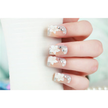 Hot Sale  24PCS Nail Strips 3D Diamond 3D Flowers  Nail Sticker Bride Nail Patch Bright Shine Stars Nail Art Stickers New