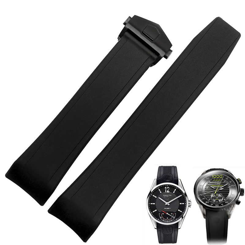 TJP 22mm Black Silicone Rubber Watch Strap Bracelet Replace TAG Watch band Heuer Carrera With Deployment Clasp Buckle<br>