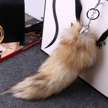 30CM Faux Fox Tail Keychains Fur Pom Pom Tassel Car Key Ring Bag Fourrure Charms Sleutelhanger Keychain Pendant Poret clef(China)