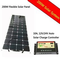 flexible solar panel 200w 18VDC monocrystalline solar cell with 1M connection wire  charge 12V battery