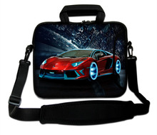 "Red Automobile Pattren Neoprene Handle Sling Computer Sleeve Pouch 10""13""14""15""17'' Laptop Carry Messenger Bag For Intel"