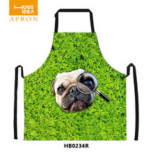 New 3D Printing Apron Dog With Magnifier Printing Cotton Sleeveless Antifouling Halter Neck Apron Restaur Kitchen -P018