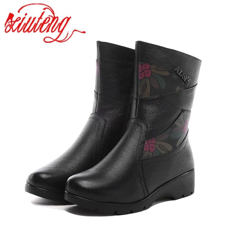 Xiuteng 2017 Winter Boots Wool Fur Inside Warm Shoes Women Luxury Genuine Leather Shoes Handmade Russia Boots Footwear Botas <br>