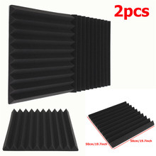 2pcs Acoustic Wedge Studio Soundproofing Foam Wall Tiles 50 x 50 x 5cm Black Using polyurethane foam material Hot Sale(China)