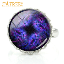 TAFREE 2017 Flower of Life rings fashion style mysterious purple pattern crown ring vintage ethnic round for women jewelry H370(China)