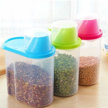 New Arrival 1.9L Plastic Kitchen Food Cereal Grain Bean Rice Storage Container Box Case Yellow Green Pink High Quality