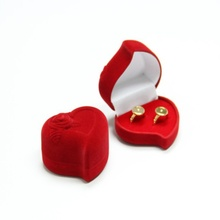 100% Brand New Red Heart Shape Velvet Engagement Wedding Ring Box Jewelry Boxes Rose Flower Design Gifts Holder(China)