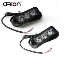 CIRION Hot Sale 2Pcs/Lot 3 LED Amber Red Blue Green Car Truck Grille Emergency Strobe Warning Light Lights Lamp 12V/24V(China)