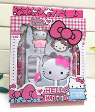 New Hello Kitty Pencil Sharpener Rubber Comb Mirror Set Cute Stationery yey-S2239