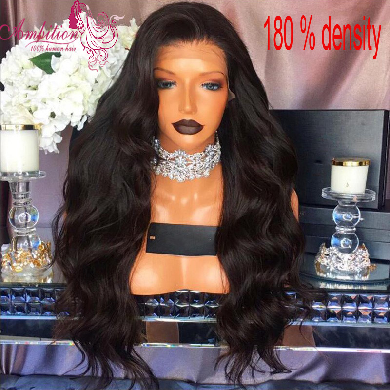 Cheap brazilian virgin human hair Body Wave Lace Front Wigs 180% Density Human Hair glueless Full Lace Wigs for black women<br><br>Aliexpress