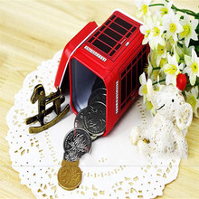2017 Hot Sale Telephone booth Tank storage box red Metal Candy Trinket Tin Jewelry Iron Tea Coin Storage Square Box Case D40JL2(China)