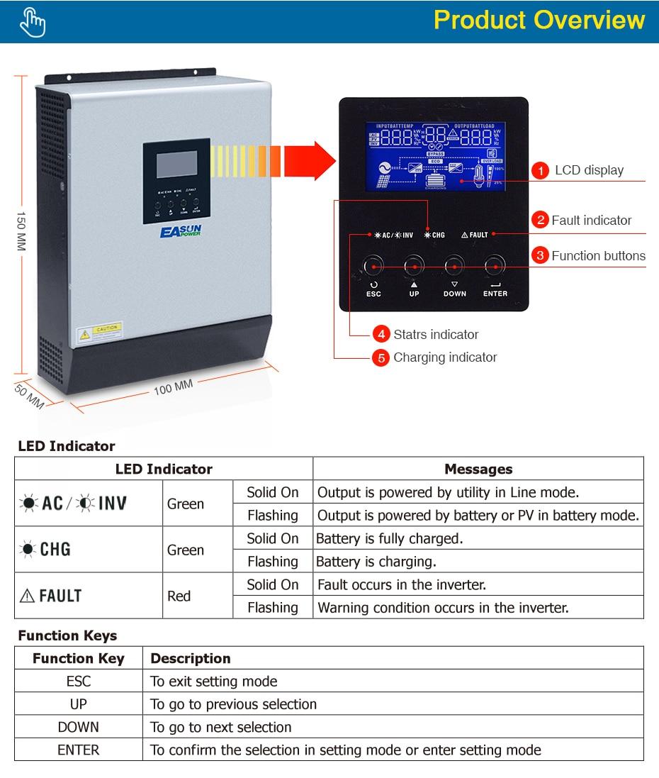 EASUN POWER Solar Inverter 3KVA 24V 220V Hybrid Inverter Pure Sine Wave Built in 50A PWM Solar Charge Controller Battery Charger ISolar SPL 3K-04