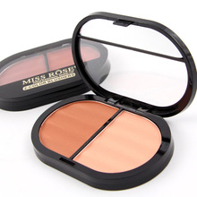 High Quality 1PC Brand 2-color Blushers Face Mineral Blush Powder Makeup Bronzers Contour Maquiagem MISS ROSE Makeup Palette(China)