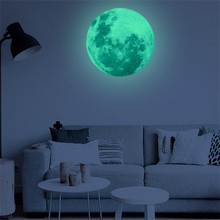 40cm 3D Large Moon Fluorescent Wall Sticker Removable Glow In The Dark Sticker Luminous Moon Sticker Decoration Removable(China)