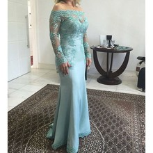 fashion light blue evening dresses 2017 long sleeves boat neck appliques lace beaded  mother of the bride drees  foraml  party