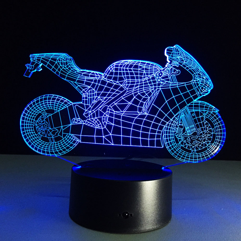3D Lamp Visual Light Effect Touch Switch &amp; Remote Control Colors Changes Night Light (Motorcycle)<br><br>Aliexpress