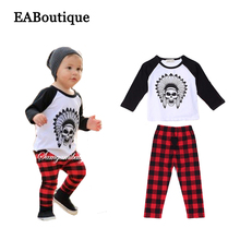 EABoutique Winter Rock Fashion Tribal Look Skull pattern long sleeve shirt with scottish plaid pants baby boy clothing set