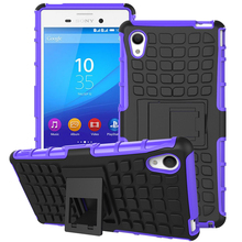 For Sony Xperia M4 Aqua E2303 E2333 E2353 Plastic+Silicone 2 in 1 Design Armor Heavy Duty Case Shockproof With Stand Cover