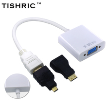 TISHRIC for HDMI to VGA Aapter Cable + Micro Mini Connector Digital to Analog Converter HD 1080P For XBOX PS3/4 HDTV PC