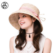 Summer Elegant Raffia Straw Hats Bowler Hat Pink Wide Brim Sun Visor Cap Vintage Hepburn Wind Beach Sombreros For Women 2017(China)