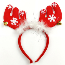 12pcs Pretty Feathered Reindeer Antlers Headband Festive Party Fancy Dress Hat XMAS Kid Hairbands head band Christmas decoration