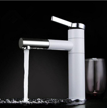 new design chrome and white brass top high quality hot and cold unique design sink faucet bathroom basin faucet with two hoses(China)