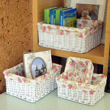 Willow Sweet Rose Flora White Wicker Storage Baskets Decorative Wicker Baskets Home Neatening Toys Food Beverage sundries basket(China)