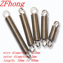 20PCS 0.3 x 3mm 0.3mm stainless steel Tension spring with a hook extension spring length 10mm to 60mm
