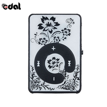 Mini Floral Printing MP3 Mirror Clip USB Digital Mp3 Music Player Support 8GB SD TF Card C key Clip MP3 Players(China)