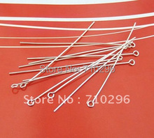 50pcs/lot 925 Solid Sterling Silver Pin Genuine 925 Eye Pin 0.6*50mm Silver Finding Silver Jewerly