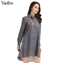 Vadim women vintage floral embroidery sequined mini dress pockets long sleeve grey ladies casual summer dresses vestidos(China)