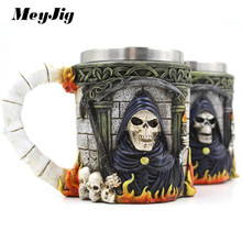 MeyJig Personalized Stainless Steel 3D Skull Mugs Coffee Tea Milk Bottle Double Wall Gothic Grim Reaper Drinking Mug(China)