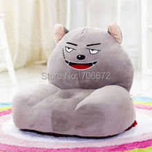 large 54x45cm Grey wolf  plush toy zipper closure tatami soft sofa floor seat cushion ,birthday gift t8960